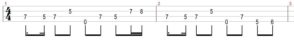 bass tabs notation
