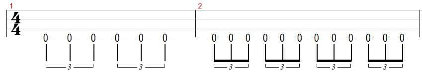 triplet bass notes tab